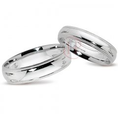 White gold diamond cut wedding ring