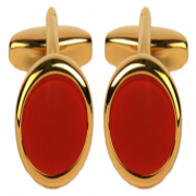 Gold plated cornellian oval stone cufflinks